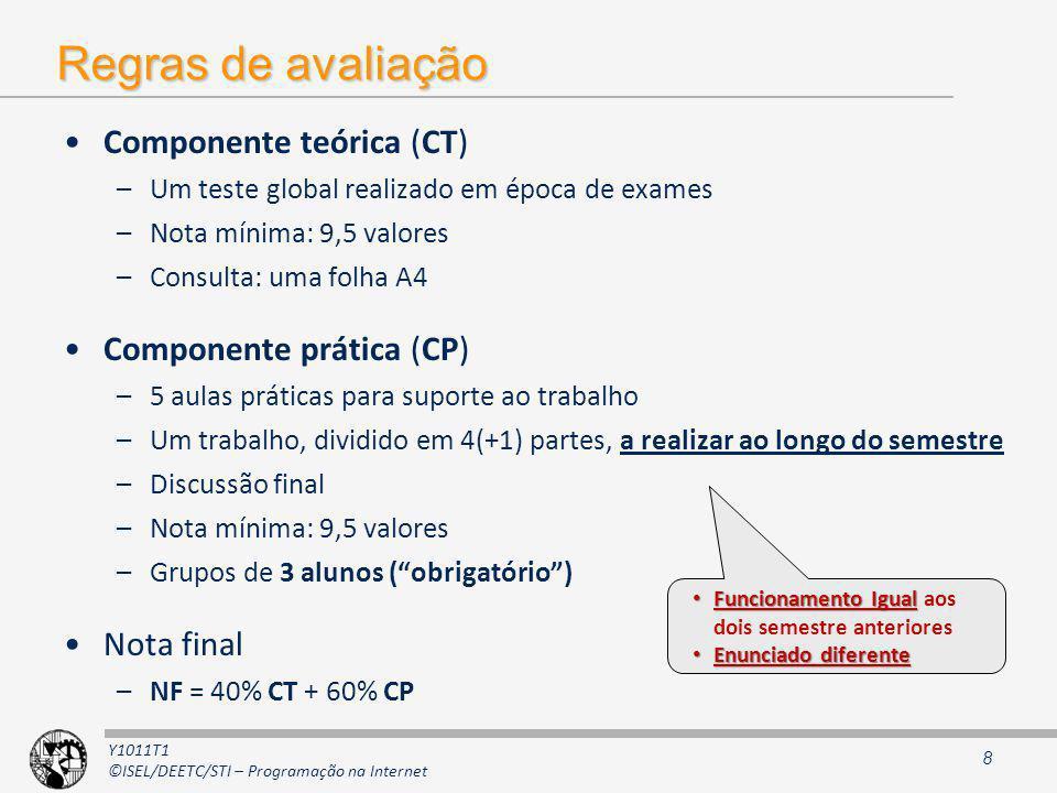 Y1011T1 ©ISEL/DEETC/STI – Programação na Internet Regras de avaliação Componente teórica (CT) –Um teste global realizado em época de exames –Nota míni