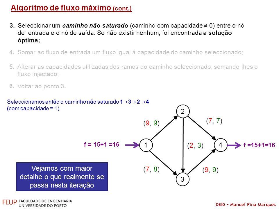 DEIG – Manuel Pina Marques 1 2 3 4 (0, 9) (9) (0, 9) (3, 9) Algoritmo de fluxo máximo (cont.) (3, 9) (3, 3) (9, 9) (6, 7) f = 15 (6, 8) (9, 9) f =15 S