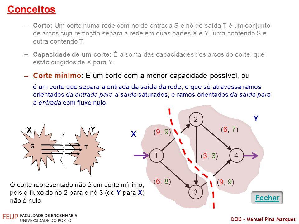DEIG – Manuel Pina Marques –Corte: Um corte numa rede com nó de entrada S e nó de saída T é um conjunto de arcos cuja remoção separa a rede em duas pa
