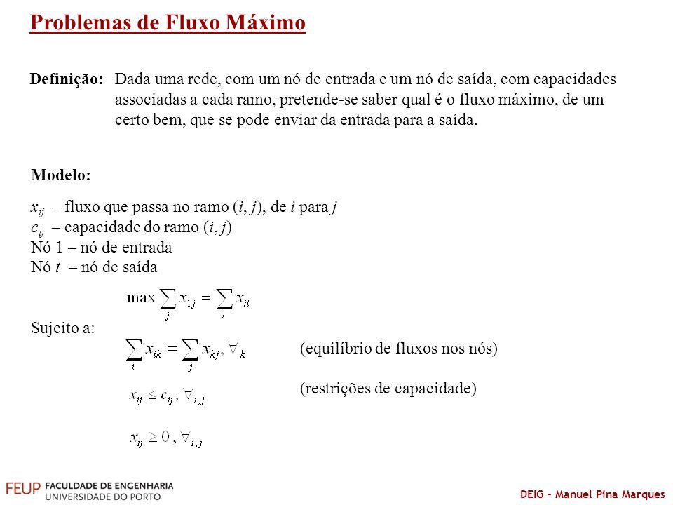 DEIG – Manuel Pina Marques Problemas de Fluxo Máximo Modelo: x ij – fluxo que passa no ramo (i, j), de i para j c ij – capacidade do ramo (i, j) Nó 1
