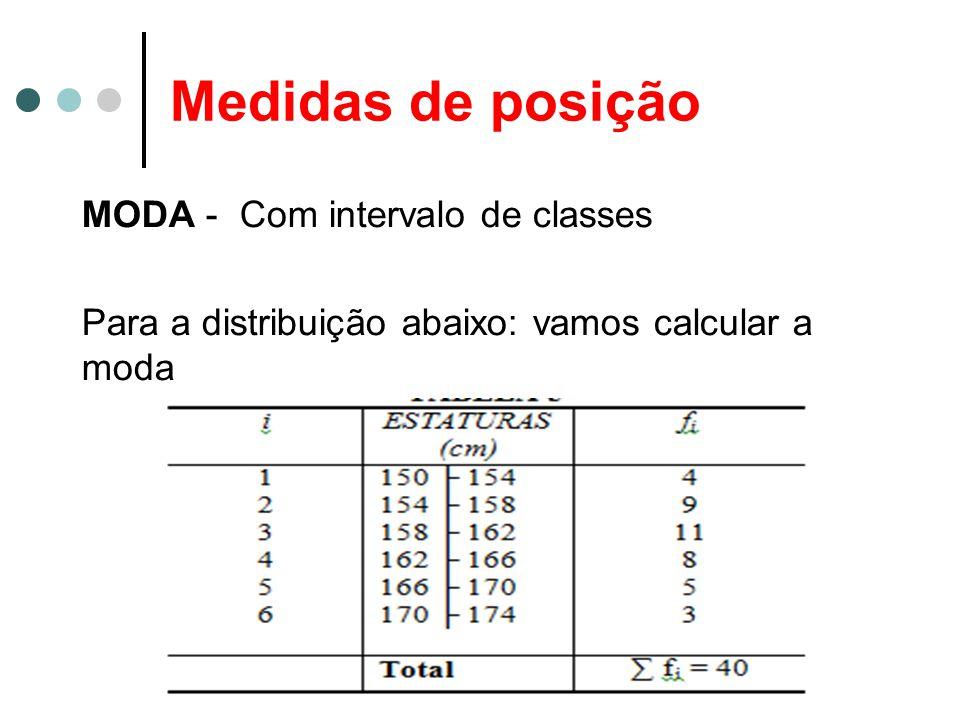 Medidas de posição MODA - Com intervalo de classes Para a distribuição abaixo: vamos calcular a moda
