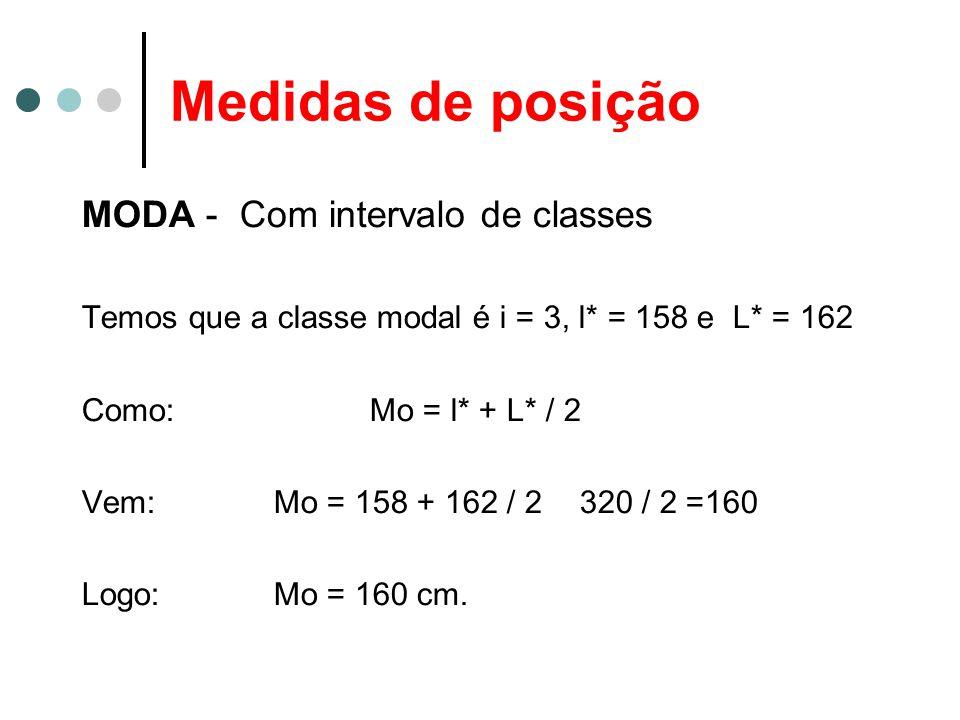 Medidas de posição MODA - Com intervalo de classes Temos que a classe modal é i = 3, l* = 158 e L* = 162 Como: Mo = l* + L* / 2 Vem: Mo = 158 + 162 /