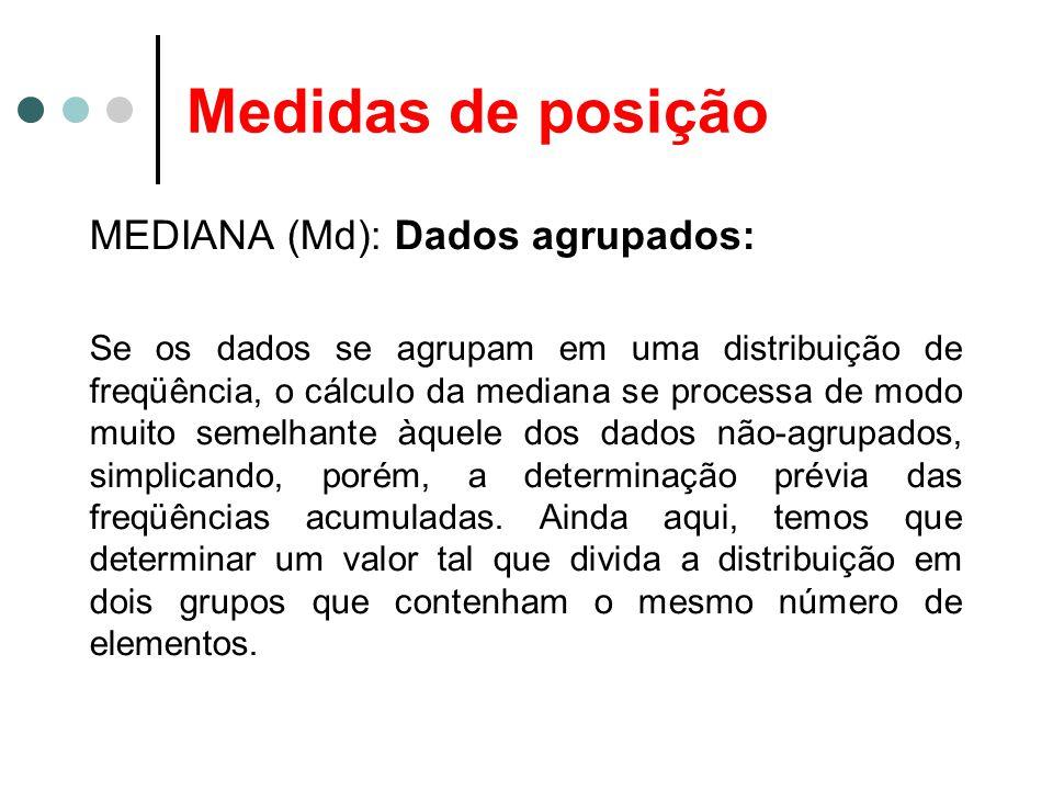 Medidas de posição MEDIANA (Md): Dados agrupados: Se os dados se agrupam em uma distribuição de freqüência, o cálculo da mediana se processa de modo m