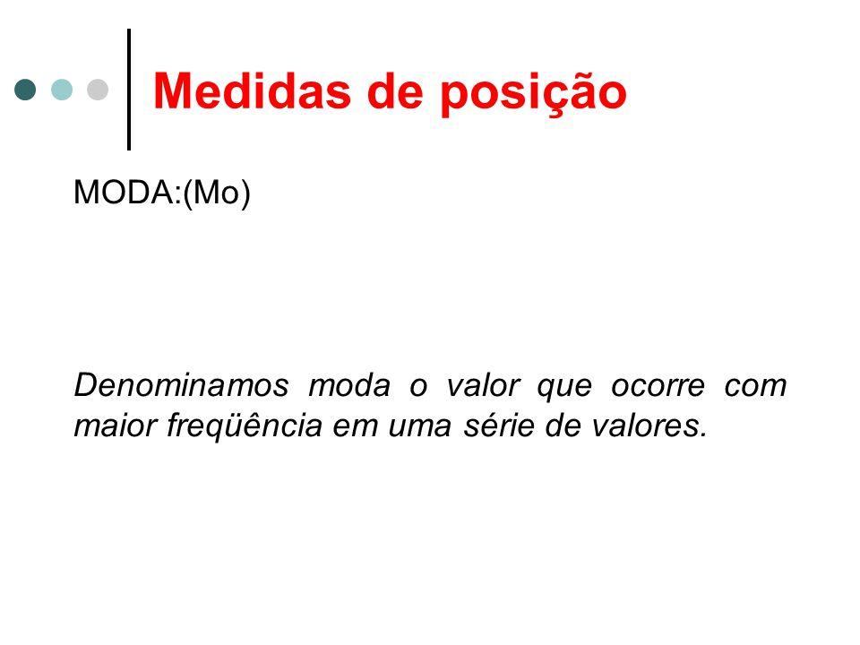 Medidas de posição MODA:(Mo) Denominamos moda o valor que ocorre com maior freqüência em uma série de valores.