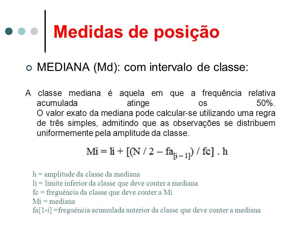 Medidas de posição MEDIANA (Md): com intervalo de classe: A classe mediana é aquela em que a frequência relativa acumulada atinge os 50%. O valor exat