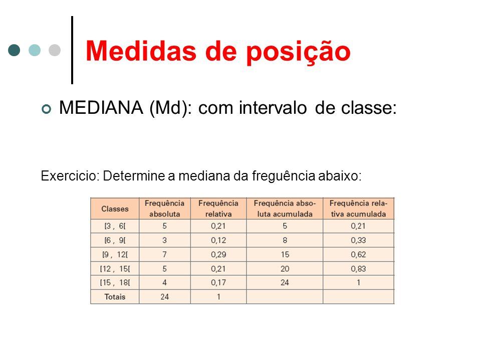 Medidas de posição MEDIANA (Md): com intervalo de classe: Exercicio: Determine a mediana da freguência abaixo: