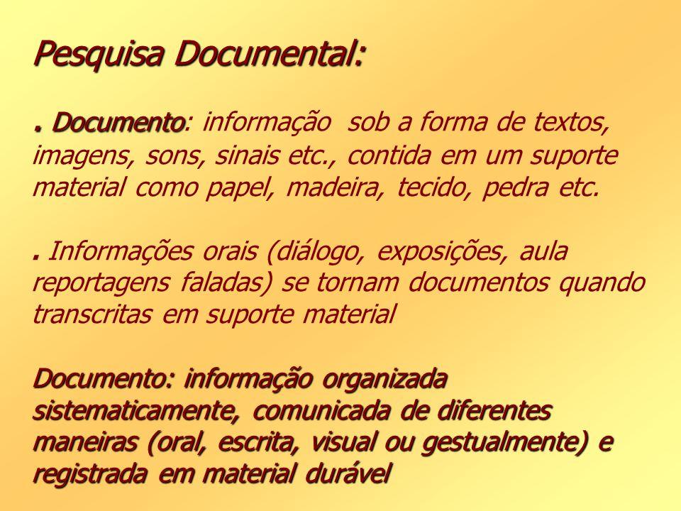 Pesquisa Documental:. Documento Documento: informação organizada sistematicamente, comunicada de diferentes maneiras (oral, escrita, visual ou gestual
