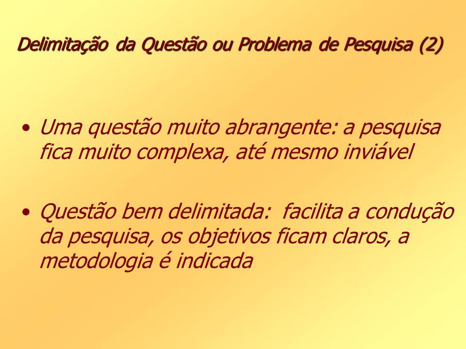 Delimitação da Questão ou Problema de Pesquisa (2) Uma questão muito abrangente: a pesquisa fica muito complexa, até mesmo inviável Questão bem delimi