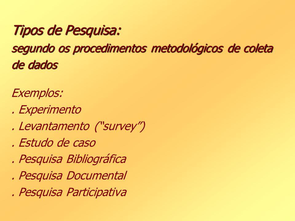 Tipos de Pesquisa: segundo os procedimentos metodológicos de coleta de dados Tipos de Pesquisa: segundo os procedimentos metodológicos de coleta de da