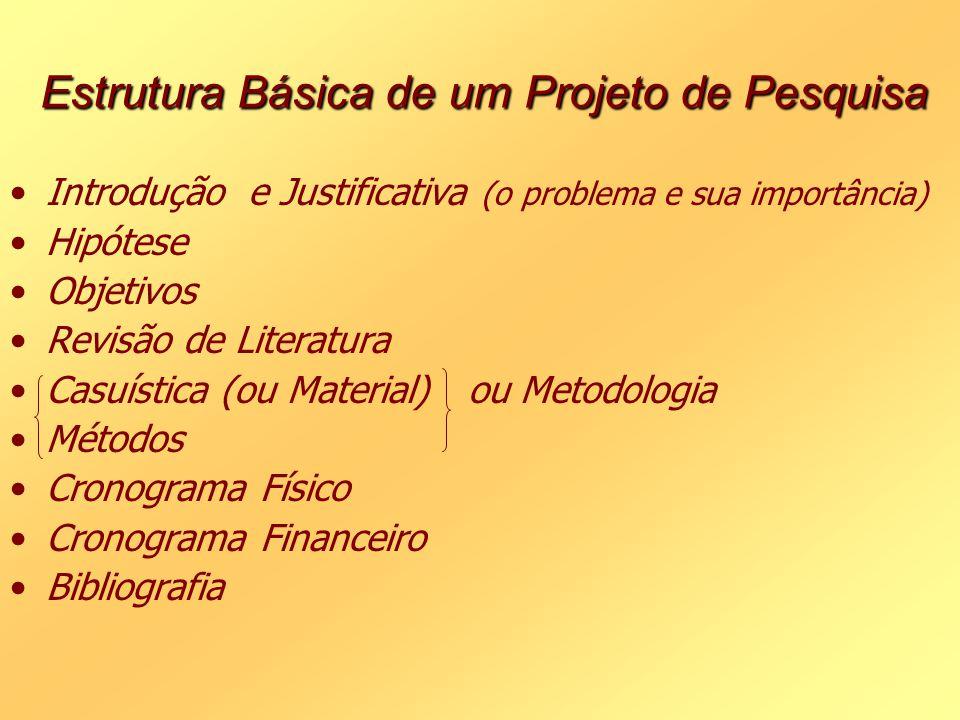 Estrutura Básica de um Projeto de Pesquisa Introdução e Justificativa (o problema e sua importância) Hipótese Objetivos Revisão de Literatura Casuísti