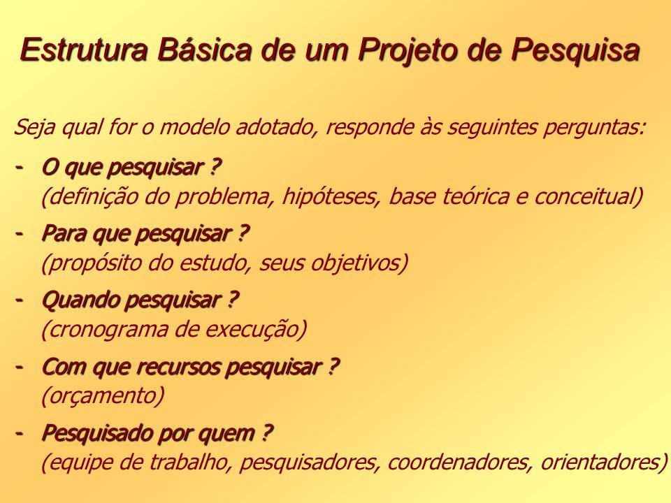 Estrutura Básica de um Projeto de Pesquisa Estrutura Básica de um Projeto de Pesquisa Seja qual for o modelo adotado, responde às seguintes perguntas: