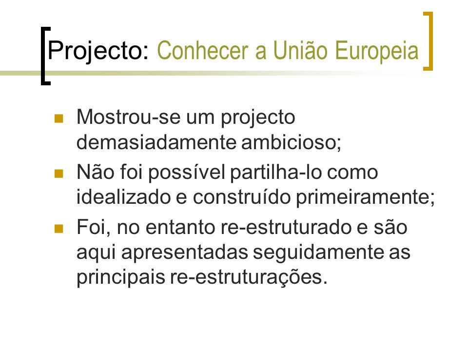 Projecto: Conhecer a União Europeia Re-estruturações a) Modificação no título; b) Diminuição do número de casos; c) Redistribuição e diminuição dos conteúdos de cada mini-caso; d) Criação de novos temas adequados à nova ideia do projecto.