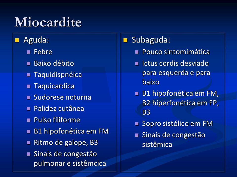 Miocardite Aguda: Aguda: Febre Febre Baixo débito Baixo débito Taquidispnéica Taquidispnéica Taquicardica Taquicardica Sudorese noturna Sudorese notur