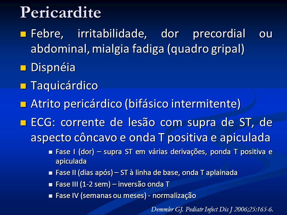 Pericardite Febre, irritabilidade, dor precordial ou abdominal, mialgia fadiga (quadro gripal) Febre, irritabilidade, dor precordial ou abdominal, mia