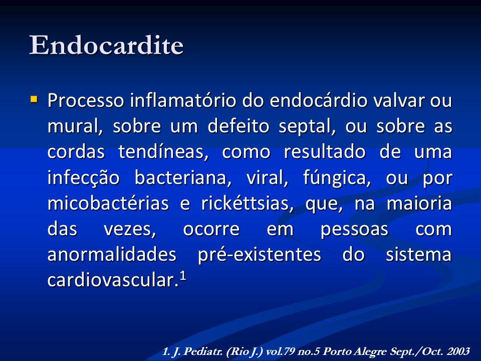 Endocardite Processo inflamatório do endocárdio valvar ou mural, sobre um defeito septal, ou sobre as cordas tendíneas, como resultado de uma infecção