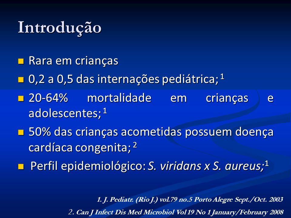 Introdução Rara em crianças Rara em crianças 0,2 a 0,5 das internações pediátrica; 1 0,2 a 0,5 das internações pediátrica; 1 20-64% mortalidade em cri