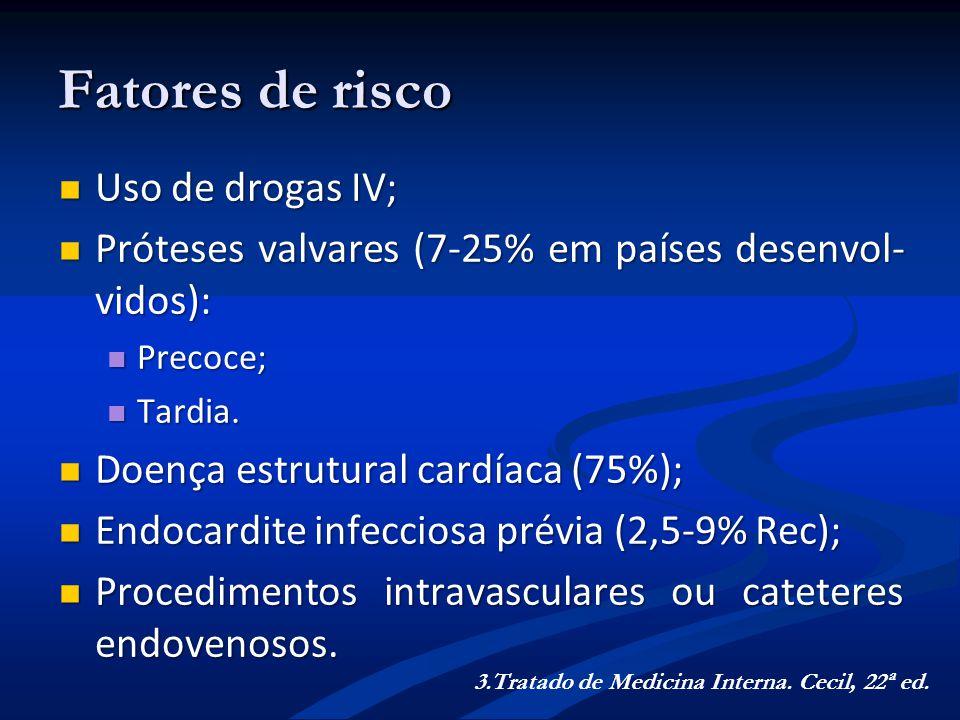 Fatores de risco Uso de drogas IV; Uso de drogas IV; Próteses valvares (7-25% em países desenvol- vidos): Próteses valvares (7-25% em países desenvol-