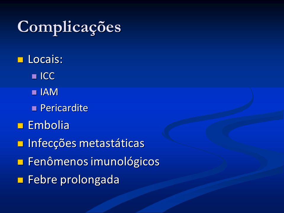 Complicações Locais: Locais: ICC ICC IAM IAM Pericardite Pericardite Embolia Embolia Infecções metastáticas Infecções metastáticas Fenômenos imunológi