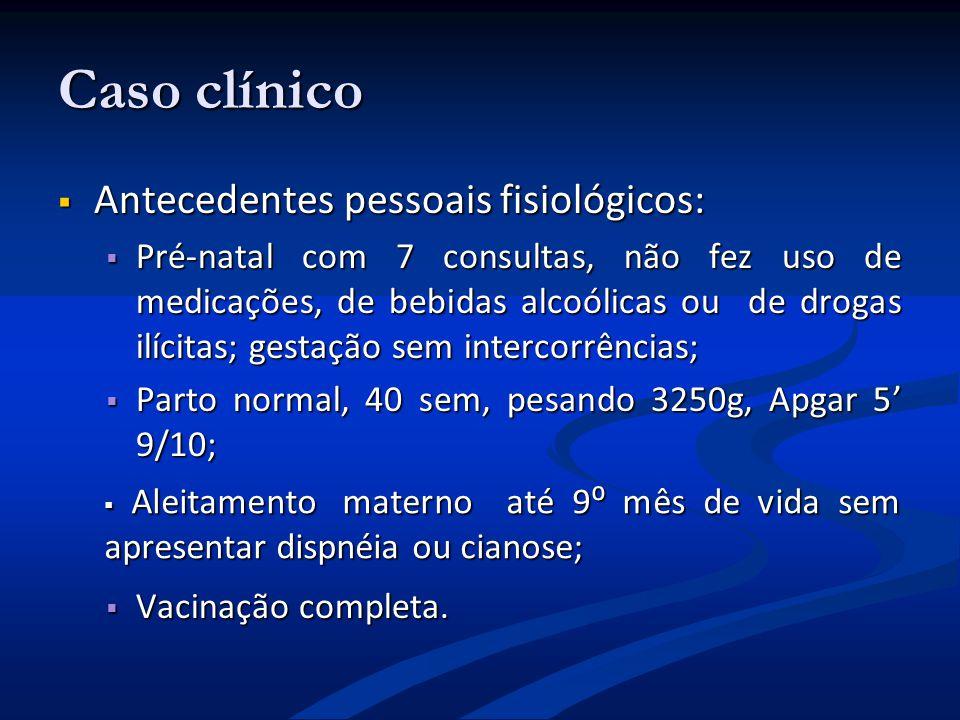 Caso clínico Antecedentes pessoais fisiológicos: Antecedentes pessoais fisiológicos: Pré-natal com 7 consultas, não fez uso de medicações, de bebidas