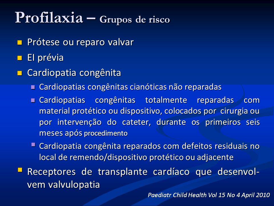 Profilaxia – Grupos de risco Prótese ou reparo valvar Prótese ou reparo valvar EI prévia EI prévia Cardiopatia congênita Cardiopatia congênita Cardiop