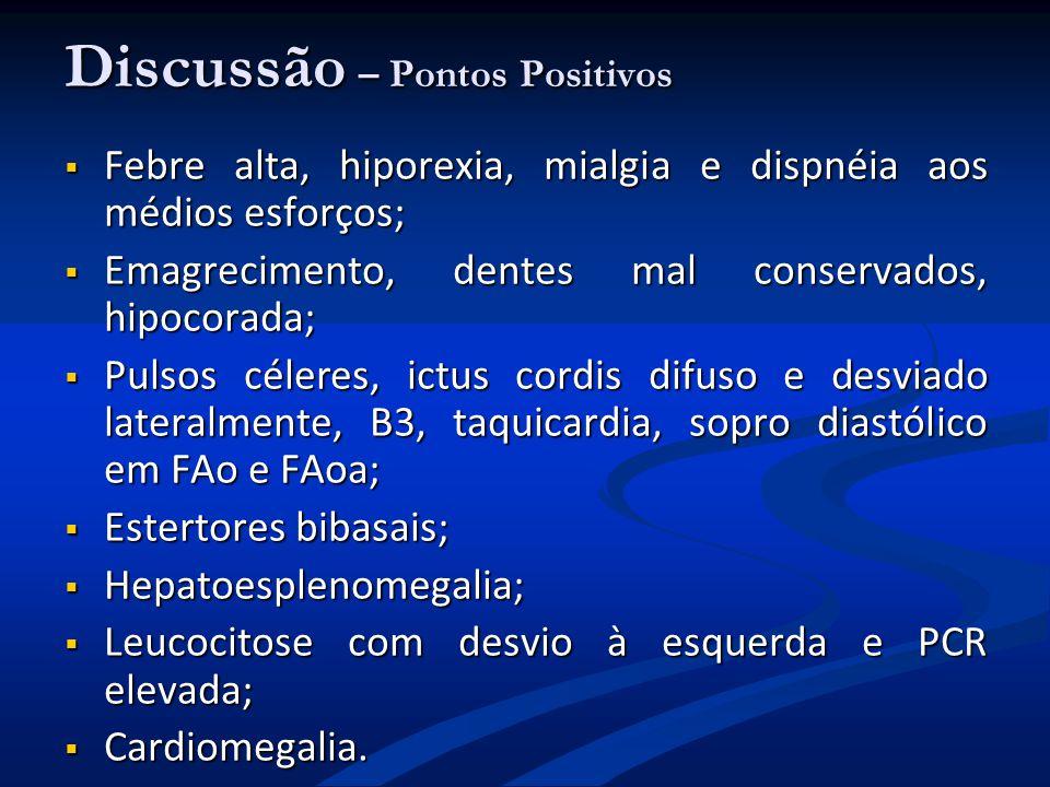 Discussão – Pontos Positivos Febre alta, hiporexia, mialgia e dispnéia aos médios esforços; Febre alta, hiporexia, mialgia e dispnéia aos médios esfor