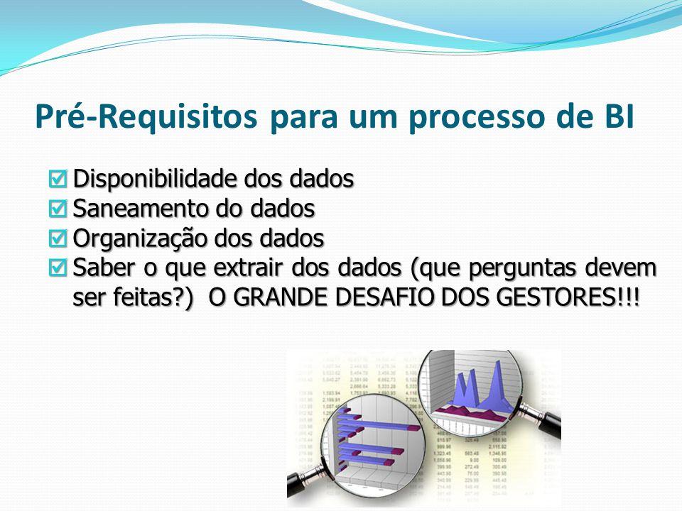Pré-Requisitos para um processo de BI Disponibilidade dos dados Disponibilidade dos dados Saneamento do dados Saneamento do dados Organização dos dado
