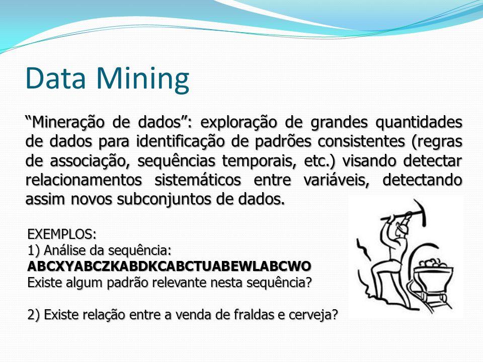 Mineração de dados: exploração de grandes quantidades de dados para identificação de padrões consistentes (regras de associação, sequências temporais,