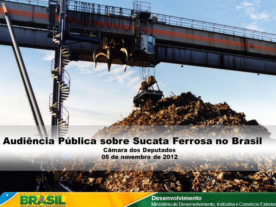 Mercado de Sucata Ferrosa no Brasil Por Segmento Consumidor Desenvolvimento Ministério do Desenvolvimento, Indústria e Comércio Exterior 91% Siderurgia Fonte: IABr; MME; ABIFA Elaboração: MDIC/SDP/DEORN/CGRN