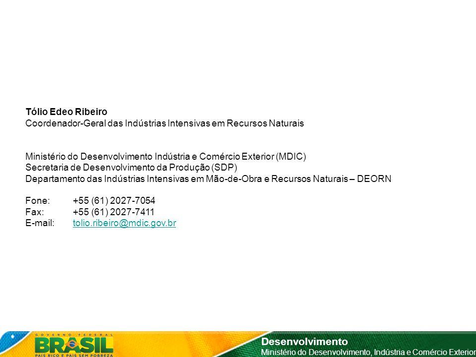 Desenvolvimento Ministério do Desenvolvimento, Indústria e Comércio Exterior Tólio Edeo Ribeiro Coordenador-Geral das Indústrias Intensivas em Recurso