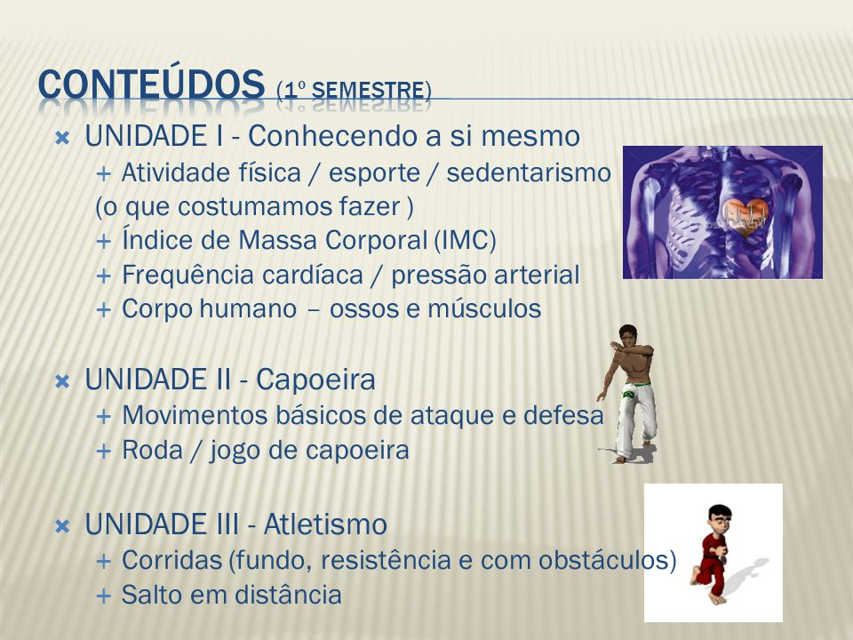 UNIDADE I - Conhecendo a si mesmo Atividade física / esporte / sedentarismo (o que costumamos fazer ) Índice de Massa Corporal (IMC) Frequência cardía
