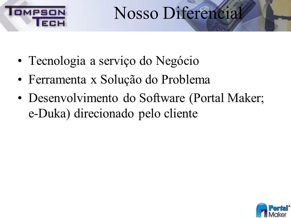 Nosso Diferencial Tecnologia a serviço do Negócio Ferramenta x Solução do Problema Desenvolvimento do Software (Portal Maker; e-Duka) direcionado pelo