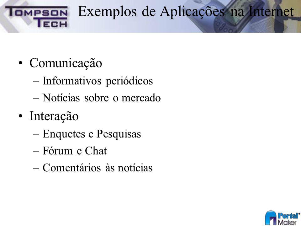 Exemplos de Aplicações na Internet Comunicação –Informativos periódicos –Notícias sobre o mercado Interação –Enquetes e Pesquisas –Fórum e Chat –Comen