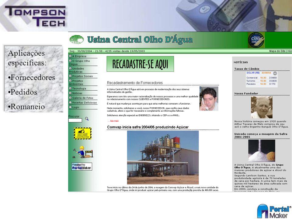 Aplicações específicas: Fornecedores Pedidos Romaneio