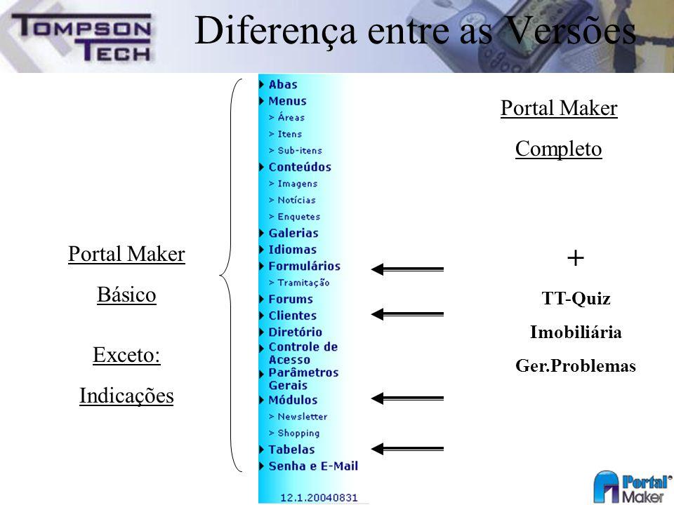 Portal Maker Completo + TT-Quiz Imobiliária Ger.Problemas Portal Maker Básico Exceto: Indicações Diferença entre as Versões