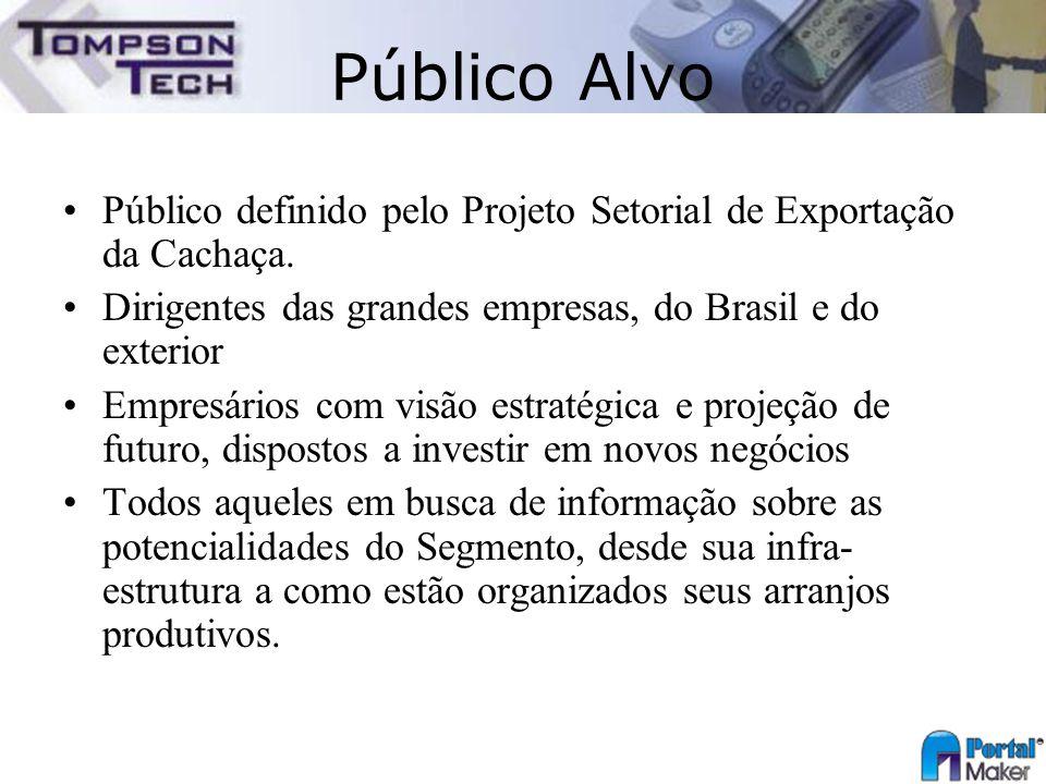 Público Alvo Público definido pelo Projeto Setorial de Exportação da Cachaça. Dirigentes das grandes empresas, do Brasil e do exterior Empresários com