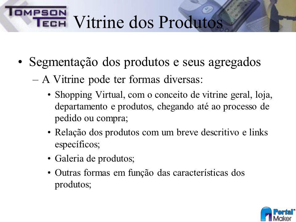 Vitrine dos Produtos Segmentação dos produtos e seus agregados –A Vitrine pode ter formas diversas: Shopping Virtual, com o conceito de vitrine geral,