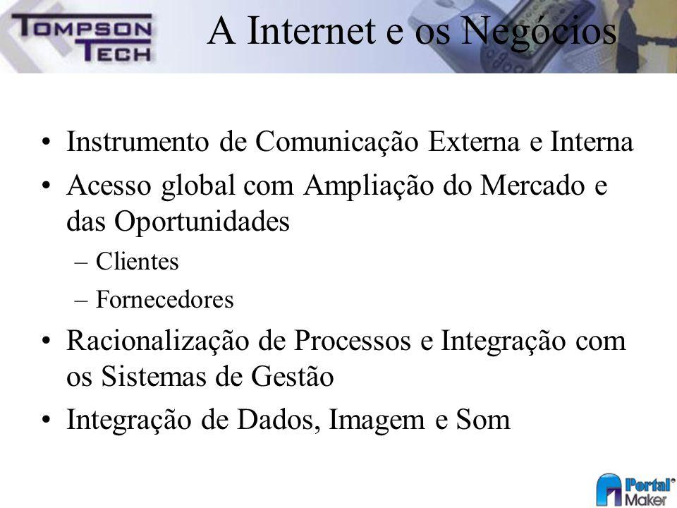 A Internet e os Negócios Instrumento de Comunicação Externa e Interna Acesso global com Ampliação do Mercado e das Oportunidades –Clientes –Fornecedor