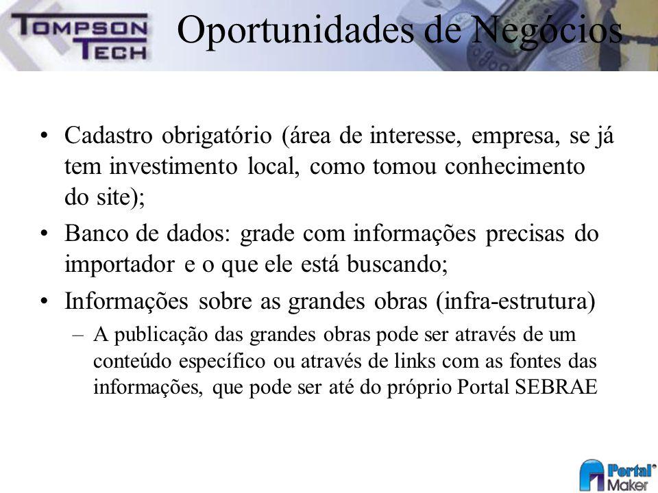 Oportunidades de Negócios Cadastro obrigatório (área de interesse, empresa, se já tem investimento local, como tomou conhecimento do site); Banco de d