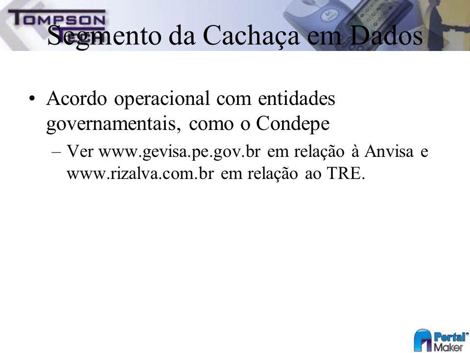 Segmento da Cachaça em Dados Acordo operacional com entidades governamentais, como o Condepe –Ver www.gevisa.pe.gov.br em relação à Anvisa e www.rizal