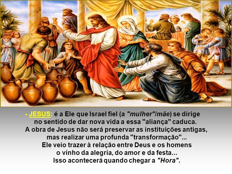 - JESUS: é a Ele que Israel fiel (a mulher /mãe) se dirige no sentido de dar nova vida a essa aliança caduca.