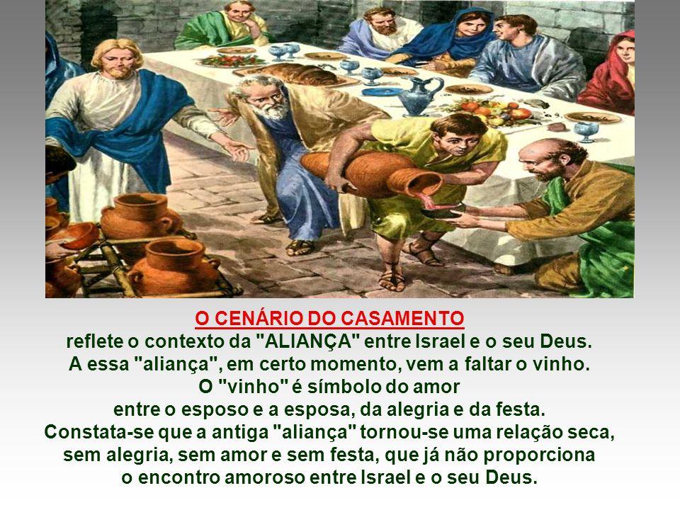 O Evangelho fala das Bodas de Caná. (Jo 2,1-11) Jesus realiza o primeiro milagre,