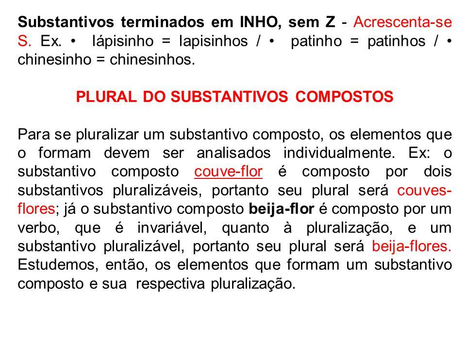 Substantivos terminados em INHO, sem Z - Acrescenta-se S. Ex. lápisinho = lapisinhos / patinho = patinhos / chinesinho = chinesinhos. PLURAL DO SUBSTA