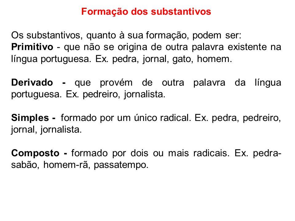 Formação dos substantivos Os substantivos, quanto à sua formação, podem ser: Primitivo - que não se origina de outra palavra existente na língua portu