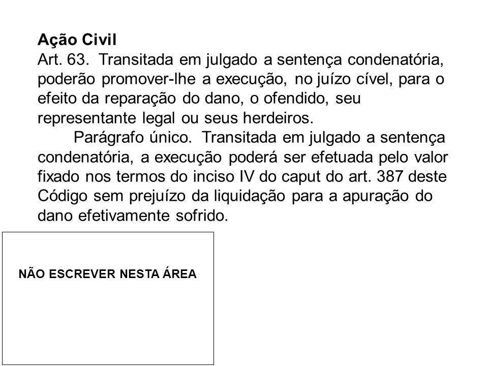 Ação Civil Art. 63. Transitada em julgado a sentença condenatória, poderão promover-lhe a execução, no juízo cível, para o efeito da reparação do dano