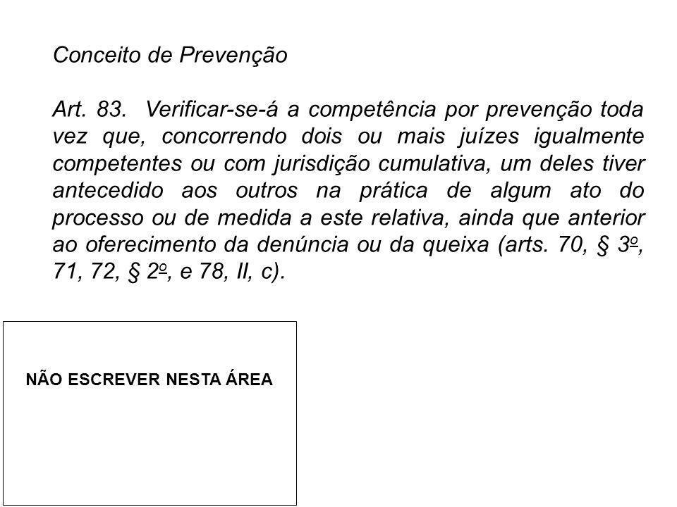 Conceito de Prevenção Art. 83. Verificar-se-á a competência por prevenção toda vez que, concorrendo dois ou mais juízes igualmente competentes ou com