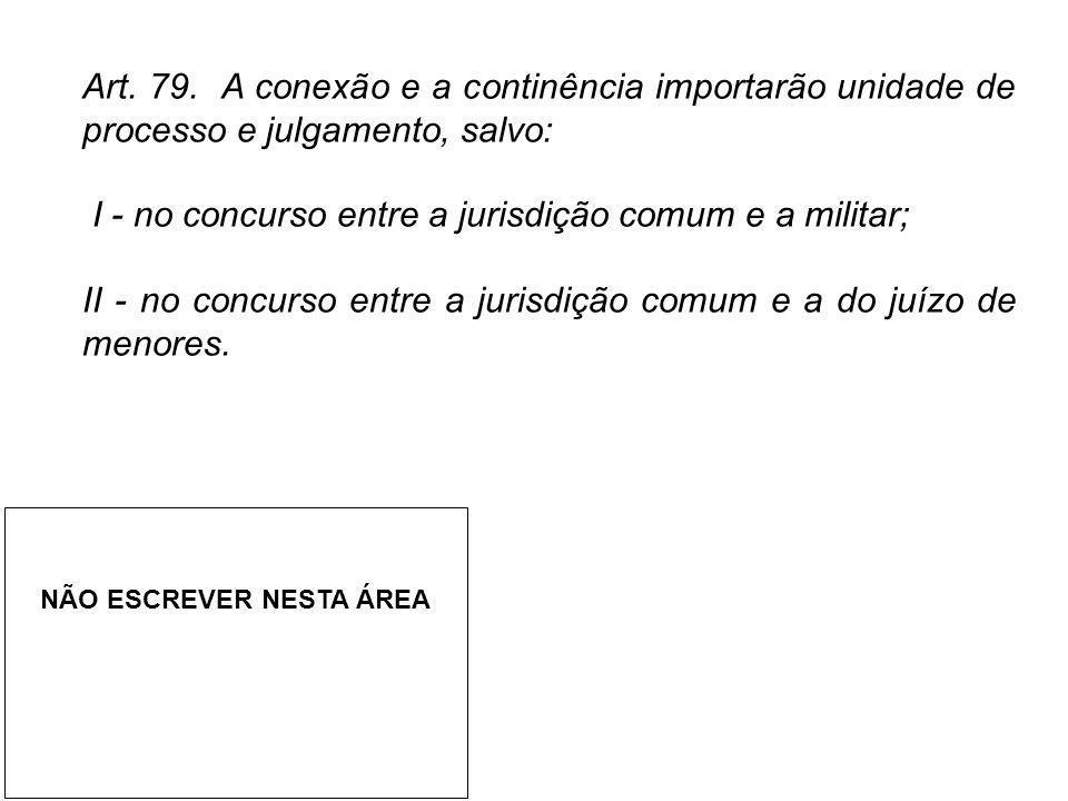 Art. 79. A conexão e a continência importarão unidade de processo e julgamento, salvo: I - no concurso entre a jurisdição comum e a militar; II - no c