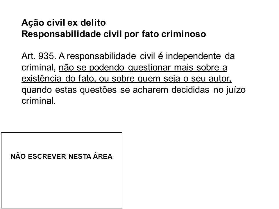 Ação civil ex delito Responsabilidade civil por fato criminoso Art. 935. A responsabilidade civil é independente da criminal, não se podendo questiona