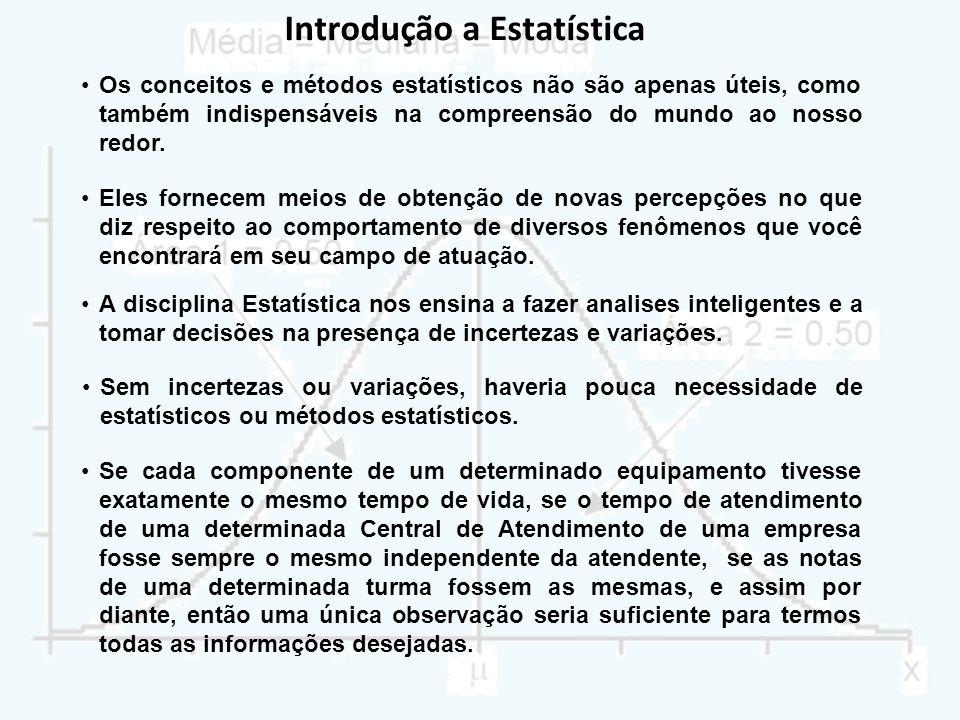 Introdução a Estatística Os conceitos e métodos estatísticos não são apenas úteis, como também indispensáveis na compreensão do mundo ao nosso redor.