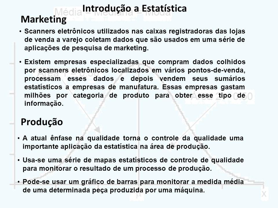 Introdução a Estatística Scanners eletrônicos utilizados nas caixas registradoras das lojas de venda a varejo coletam dados que são usados em uma séri