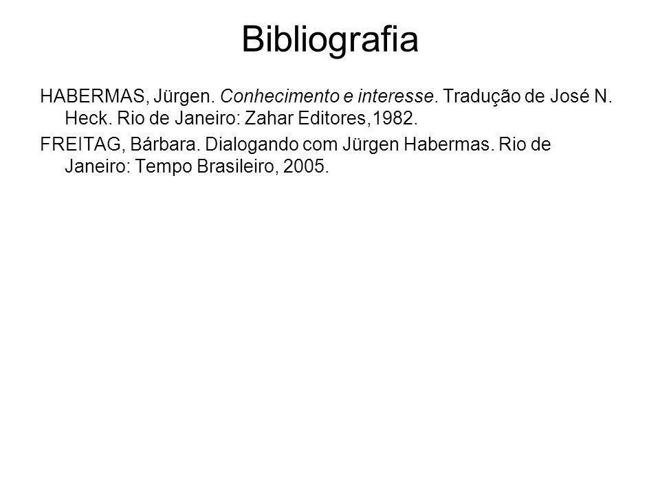 Bibliografia HABERMAS, Jürgen. Conhecimento e interesse. Tradução de José N. Heck. Rio de Janeiro: Zahar Editores,1982. FREITAG, Bárbara. Dialogando c